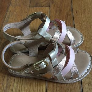 Gold and pink sandals